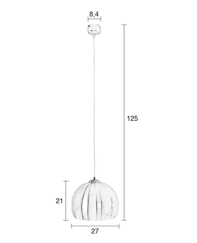Big Glow hanglamp Zuiver zilver afmetingen