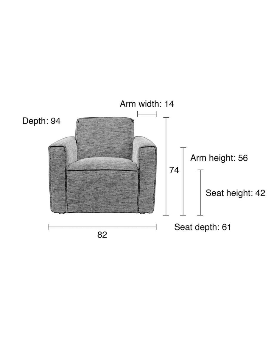 Bor sofa 1 zetel Zuiver afmetingen