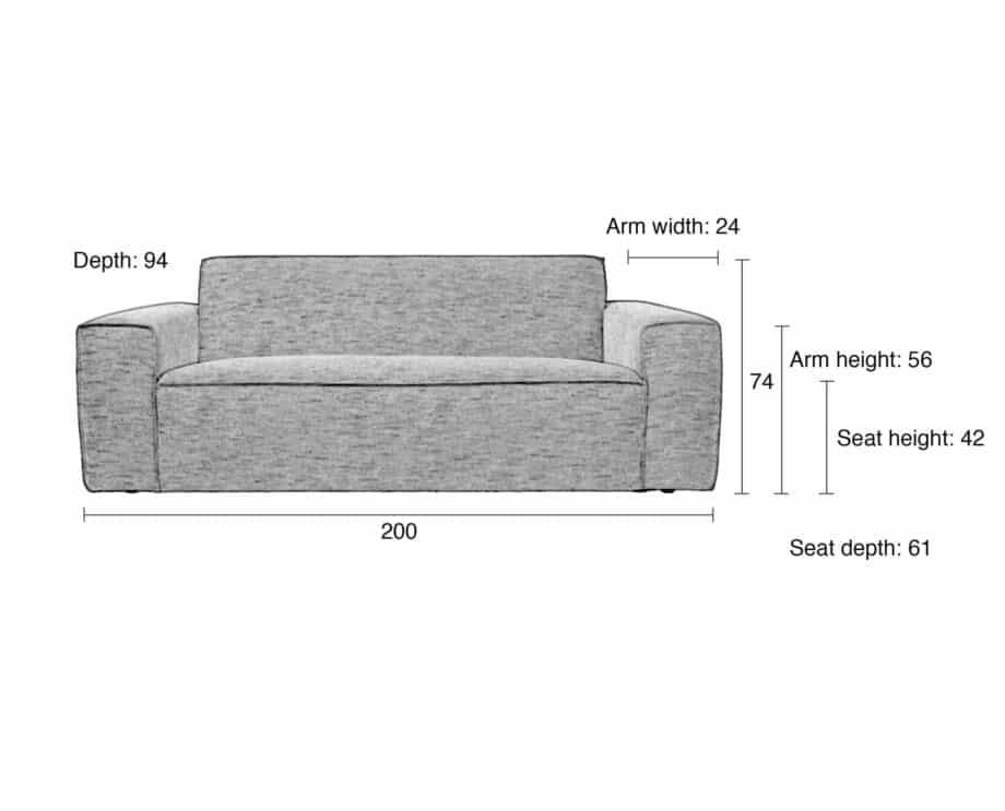 Bor sofa 2,5 zetel Zuiver lichtgrijs