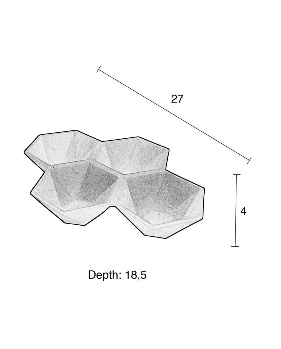 Hexagon schotels Zuiver afmetingen