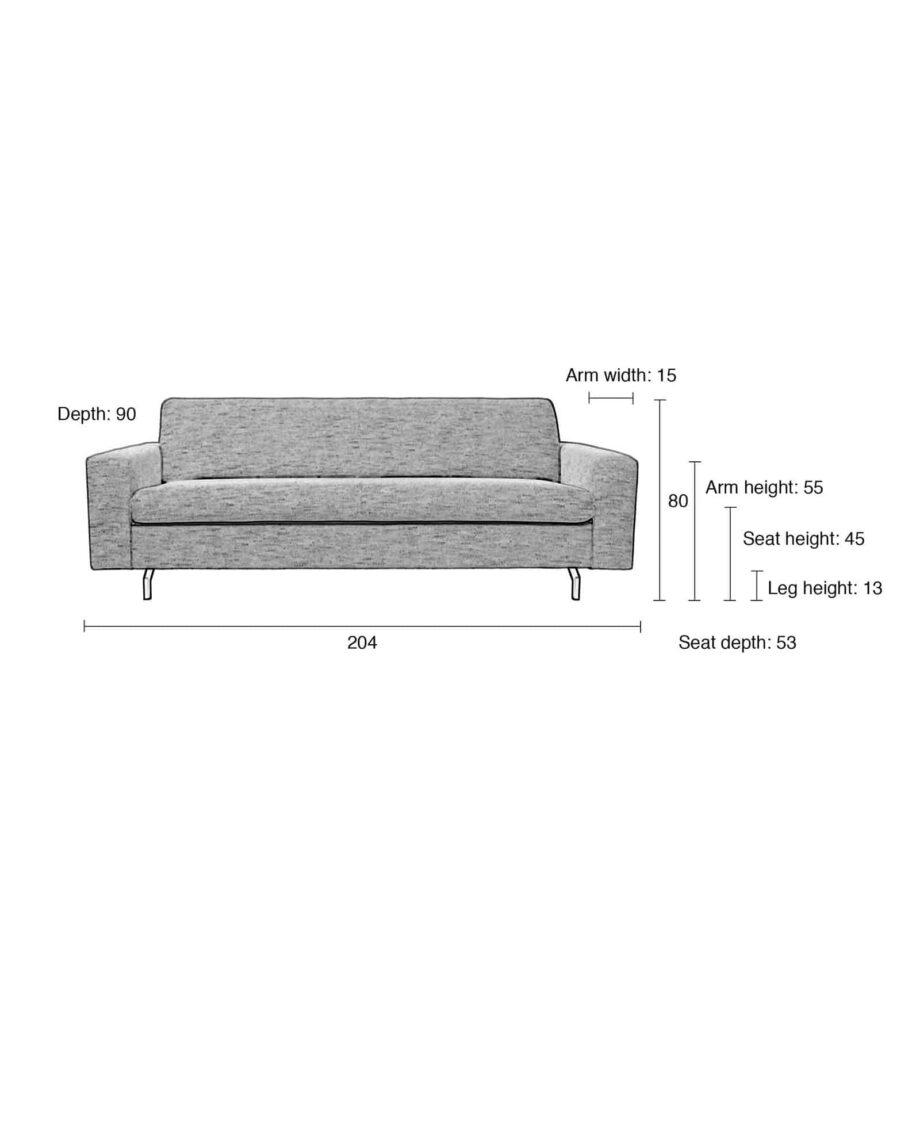 Jean sofa 2.5 zetel Zuiver afmetingen