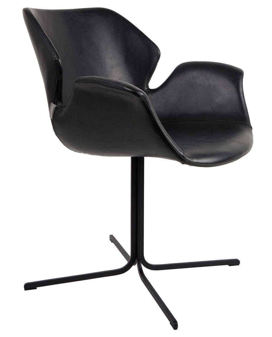 Nikki fauteuil Zuiver zwart leder