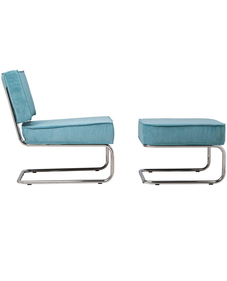 Ridge Lounge Rib fauteuil Zuiver blauw