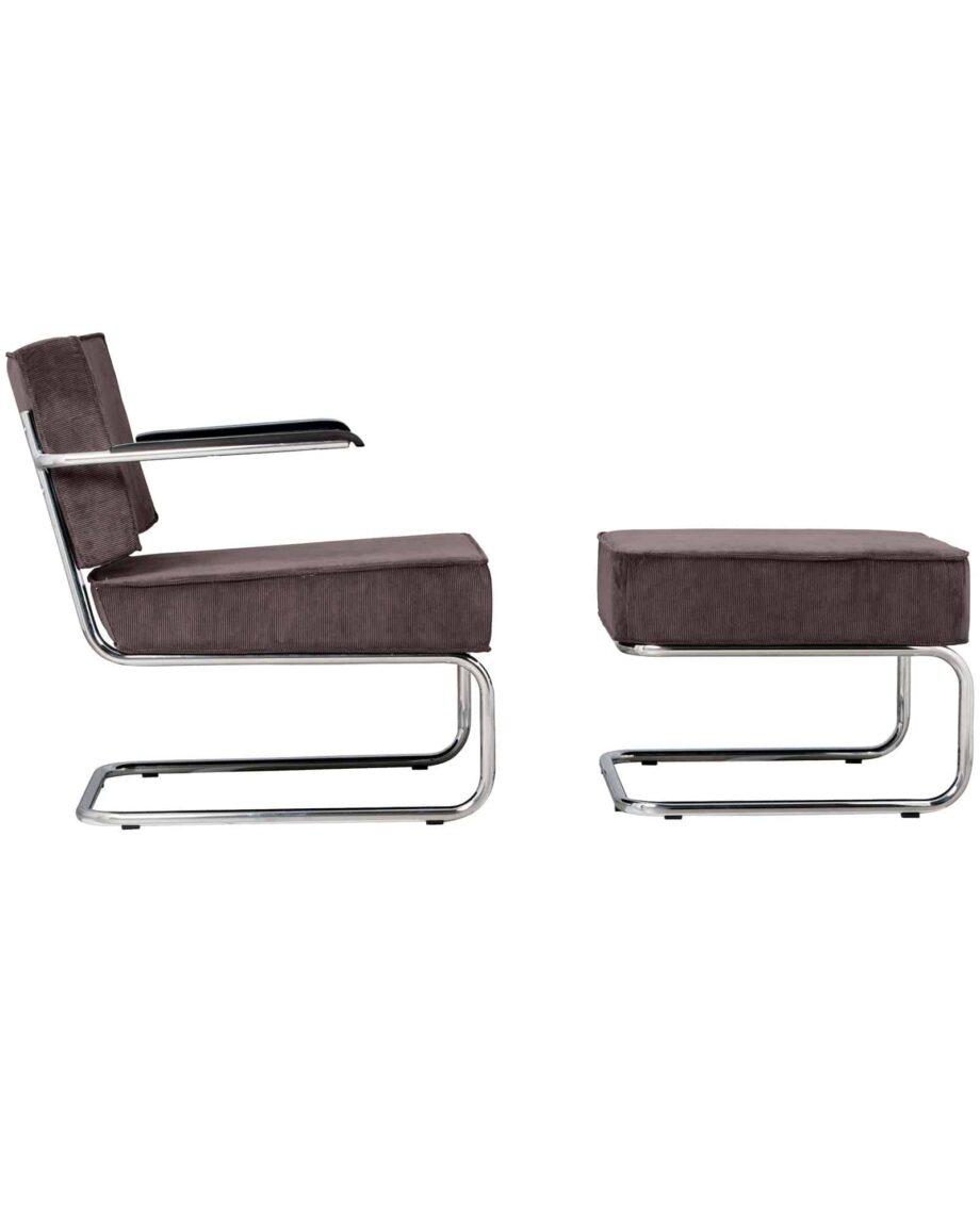 Ridge Lounge Rib fauteuil Zuiver donkergrijs