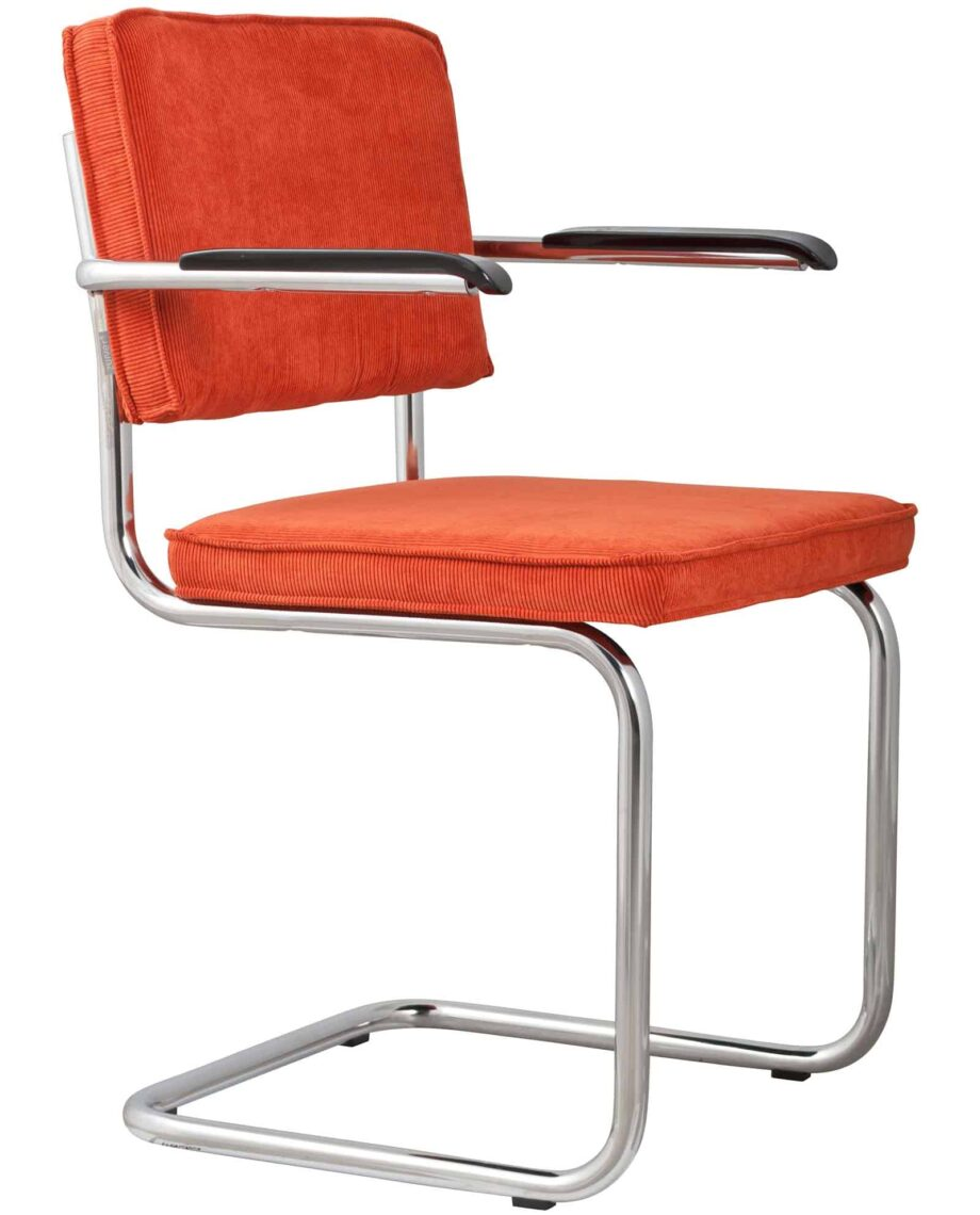 Ridge Rib armchair Zuiver orange-red