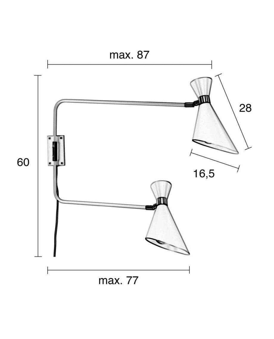Shady Double wandlamp Zuiver afmetingen