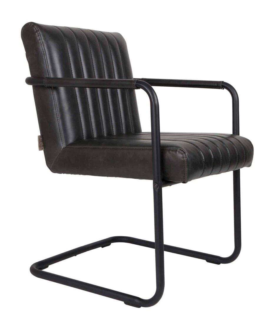 Stitched fauteuil Dutchbone zwart leder