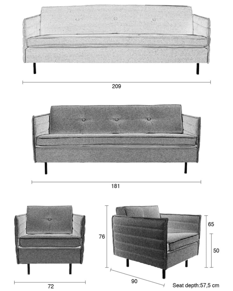 Jaey sofa 2,5 Zuiver afmetingen