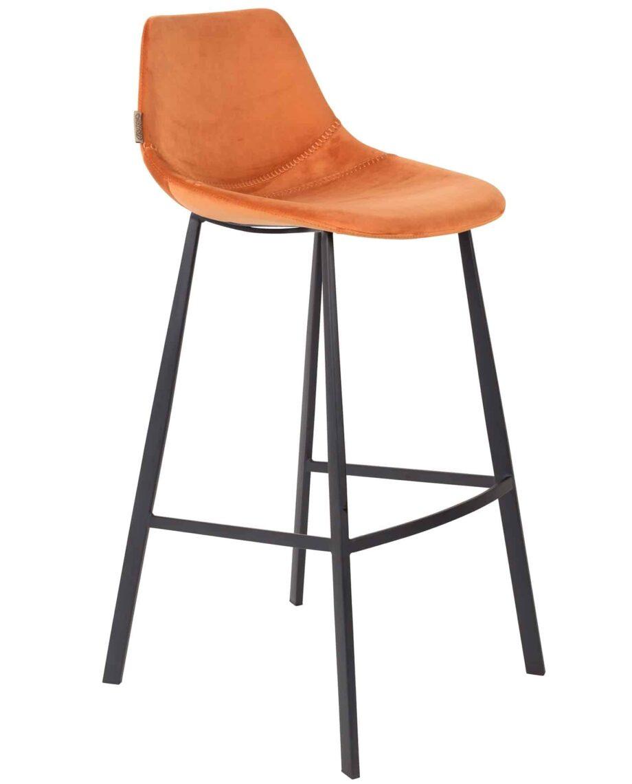 Franky Velvet barkruk Dutchbone oranje 1