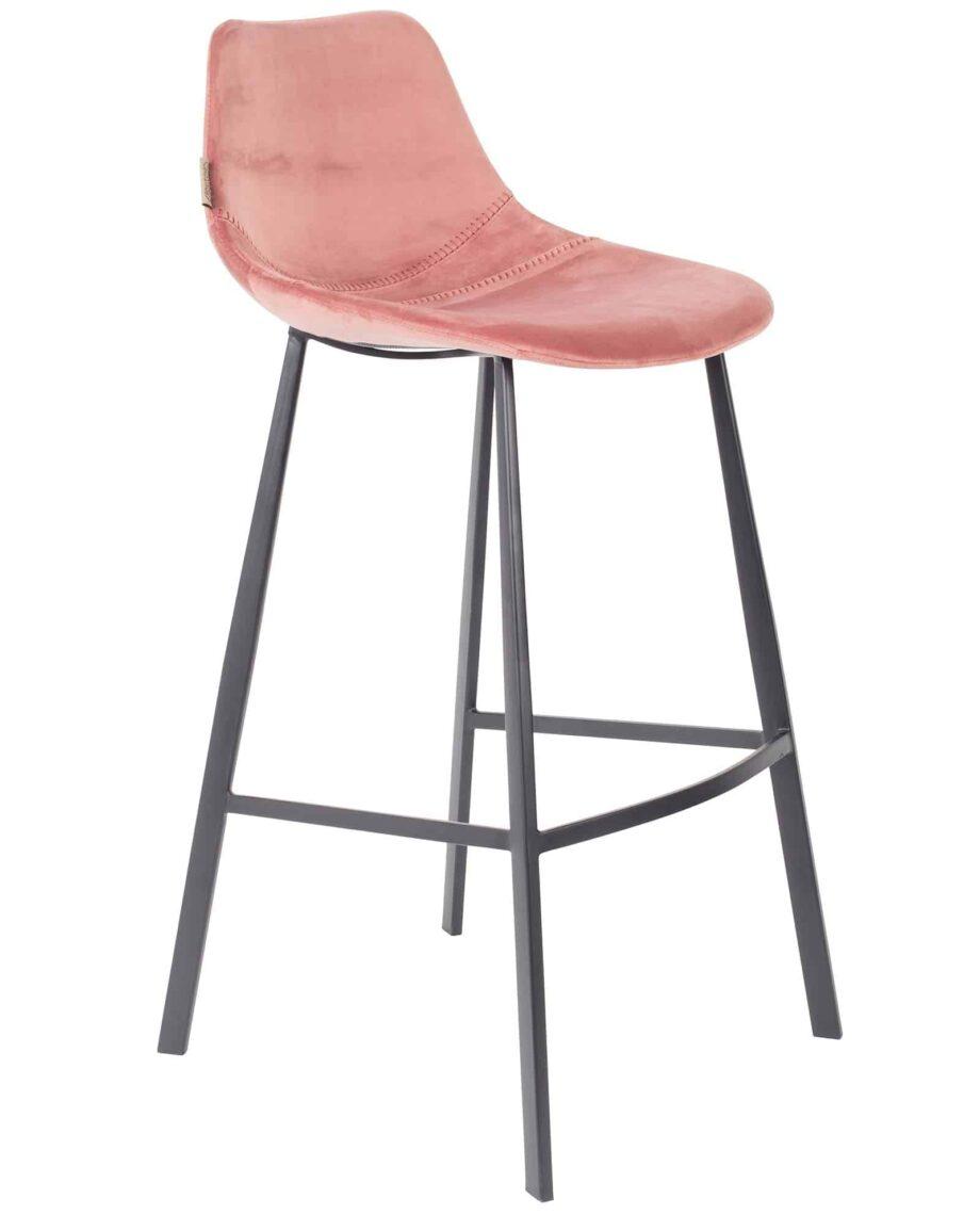 Franky Velvet barkruk Dutchbone roze 1