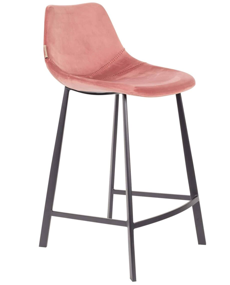 Franky Velvet kitchen stool Dutchbone pink 1