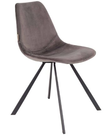 Franky Velvet stoel Dutchbone grijs 1